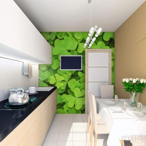 Dapur segar dengan wall mural tanaman hijau (Pixers)