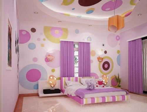 Dekorasi kamar anak perempuan bernuansa ungu