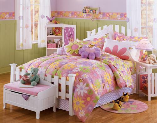 Dekorasi kamar anak perempuan dengan tema kebun bunga