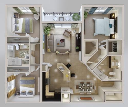 Denah Rumah 3 Kamar Secara Minimalis dan Mendetail