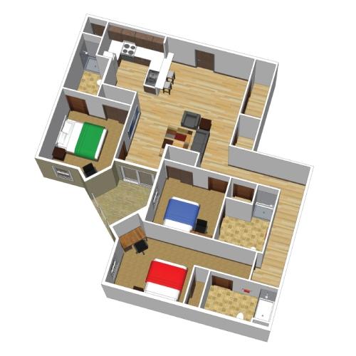 Denah Rumah Minimalis Modern 1 Lantai 3 Kamar Tidur
