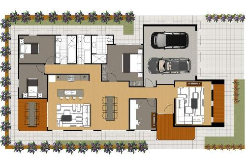 Denah rumah minimalis 1 lantai bergaya Asia dengan 4 kamar tidur