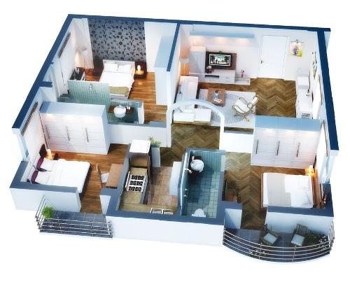 Denah rumah minimalis 1 lantai tanpa sekat permanen