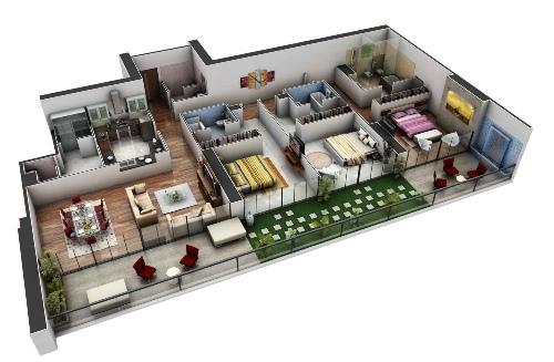Denah rumah type 60 1 lantai dengan 3 kamar tidur
