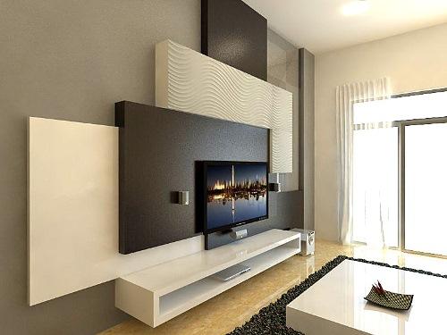 Desain dinding tumpu dengan furniture (Myslingshot)