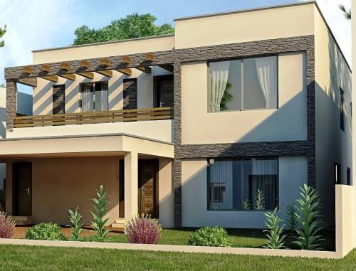 Desain eksterior rumah modern dengan taman minimalis