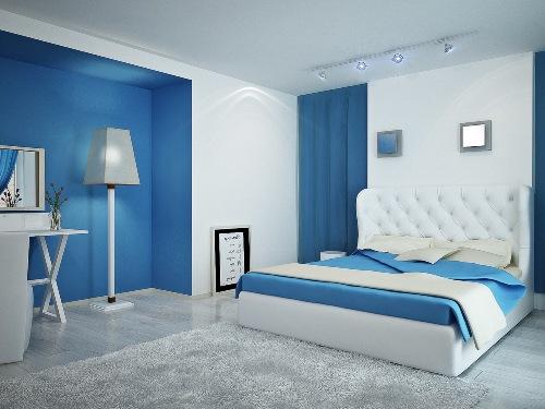 Desain interior kamar tidur biru dan putih (Center-kenes)
