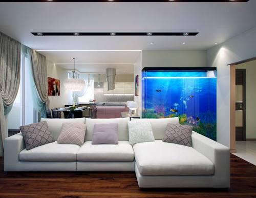 Desain interior rumah minimalis dengan aquarium (Alhabibpaneldoors)