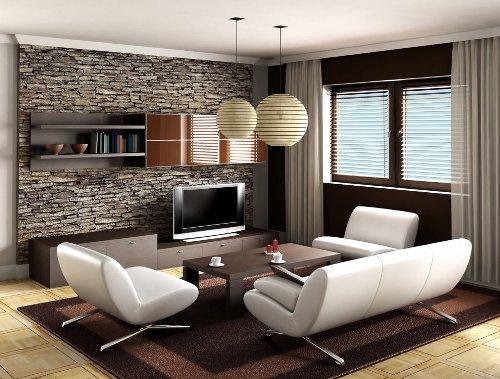 Desain interior rumah minimalis modern dengan dinding batu alam (Rilane)