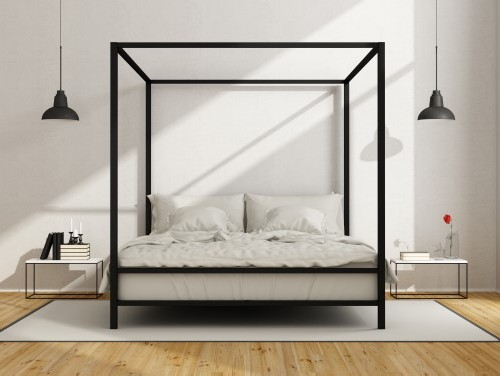 Desain kamar tidur dengan ranjang kanopi bernuansa monokrom (Fotolia)