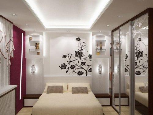Desain kamar tidur kecil dengan kaca cermin (Minimalisti)