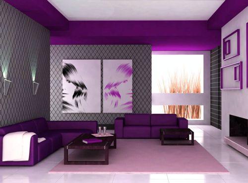 Desain ruang tamu dengan furniture ungu (7kkdesign)