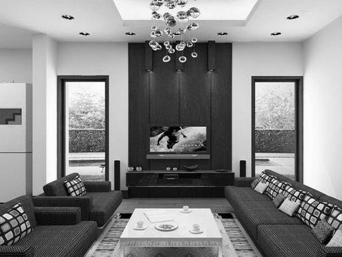 Desain ruang tamu minimalis bertema monokrom
