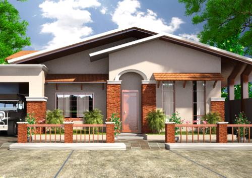Elemen batu alam menghadirkan nuansa asri di eksterior rumah