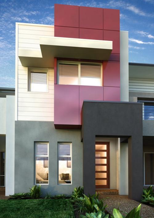 Fasad rumah 2 lantai modern dengan 4 blok warna