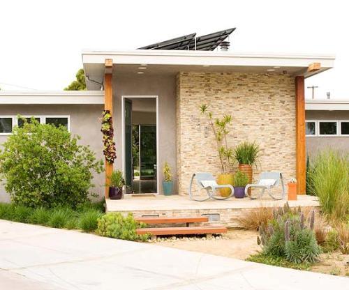 Fasad rumah minimalis modern dengan mix n match material - Meredith