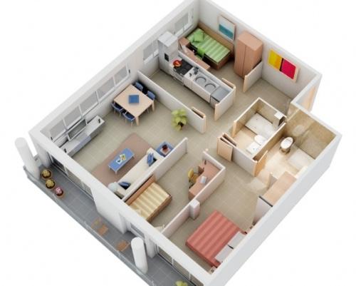 Gambar Denah Rumah Sederhana 3 dimensi
