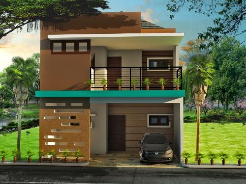 Gambar Rumah Minimalis Modern 2 Lantai Sederhana dengan carport