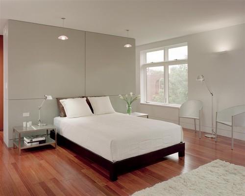 Gambar interior kamar tidur utama bergaya minimalis