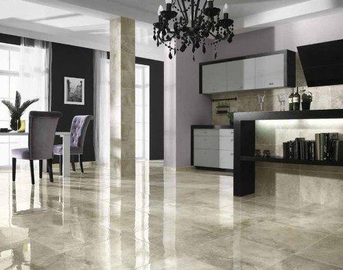 Interior dapur dengan lantai granit (Desainic)