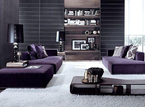 Interior ruang tamu bernuansa ungu gelap (Decoist)