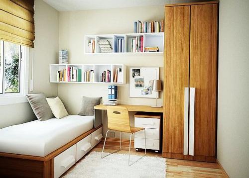 Kamar tidur mungil dengan furniture fungsional