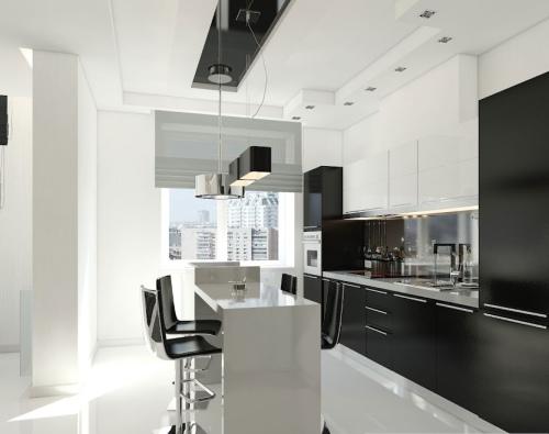 Kombinasi hitam putih di dapur modern (Home-designing)