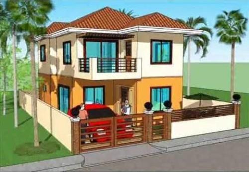 Tampak Depan Rumah Minimalis 2 Lantai Bertema Tropis