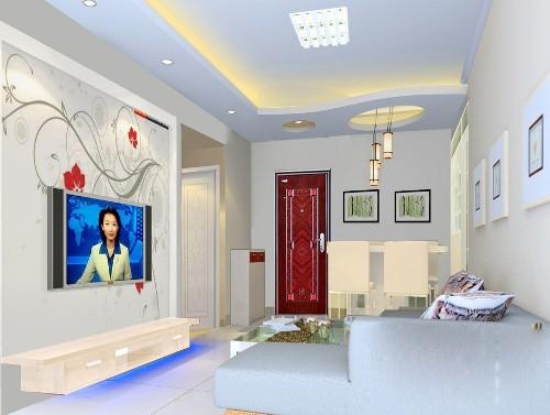 Ruang tamu menyatu dengan ruang makan di rumah sederhana