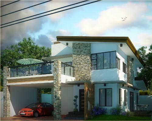 Rumah Idaman 2 Lantai dengan Balkon panel kaca dan canopy