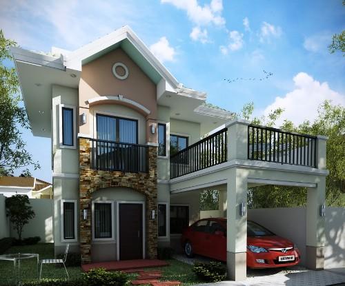 Rumah idaman 2 lantai dengan balkon terbuka
