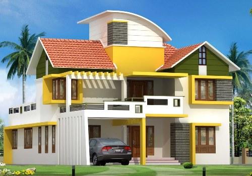 Rumah mewah 2 lantai dengan atap pelana dan atap melengkung