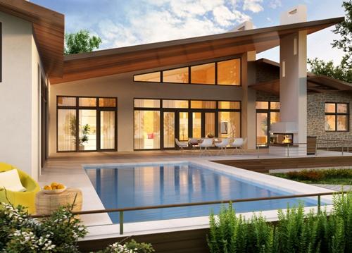 Rumah mewah dengan Kolam Renang Semi Indoor (Fotolia)