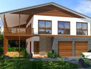 rumah minimalis sederhana 2 lantai dengan balkon kayu