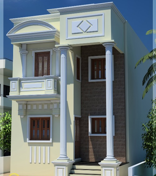 Rumah type 21 bergaya kubus kontemporer