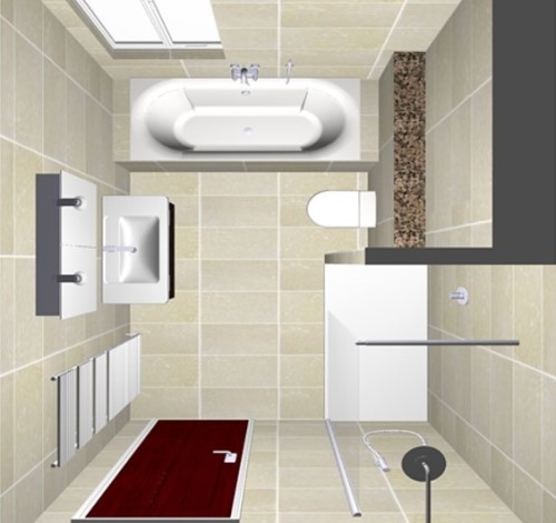 Sketsa kamar mandi model U (Idealbathrooms)