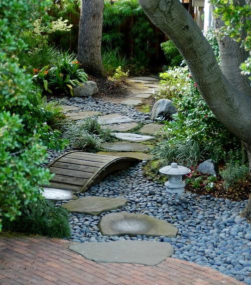 Taman rumah minimalis dengan krikil dan jalur pejalan kaki