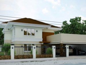 gambar rumah tampak depan dengan elemen batu alam