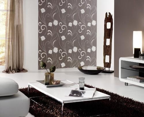 Wallpaper motif kecil sebagai focal point di ruang keluarga - Pwscott