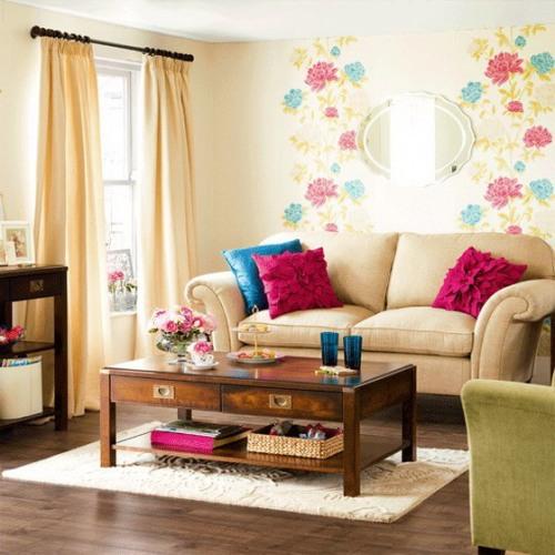 Wallpaper warna pastel motif floral untuk ruang keluarga minimalis - Bugot