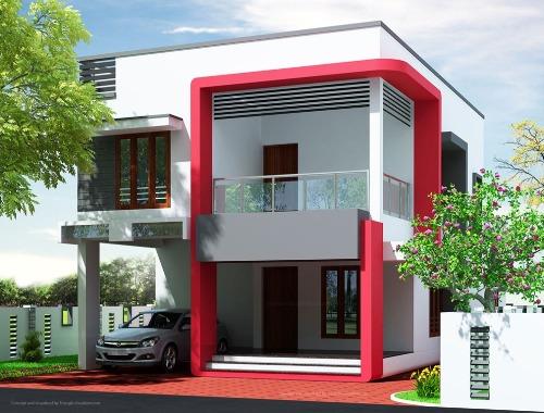 Warna cat rumah minimalis paduan merah, putih, dan abu