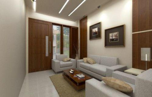 Warna terang membawa kesan luas di ruang tamu