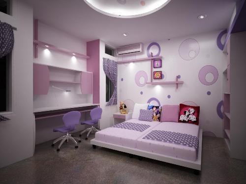 Warna ungu dan variasinya menghasilkan nuansa sejuk di kamar tidur