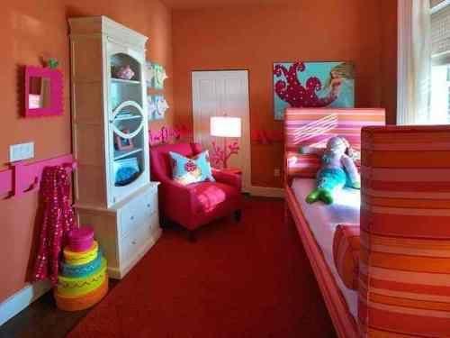 dekorasi kamar anak perempuan, modern dan feminin