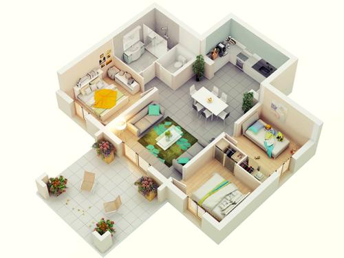 denah rumah minimalis 1 lantai type 36