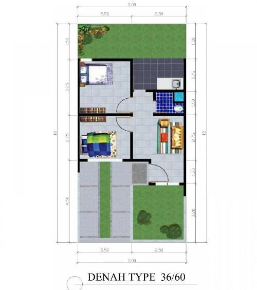 denah rumah minimalis type 36-60