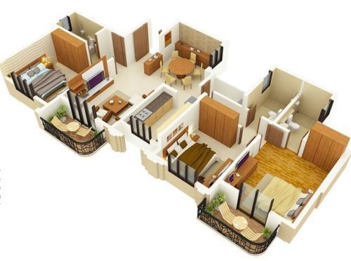 denah rumah tipe 70 dengan 3 kamar tidur