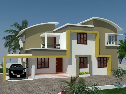 desain atap rumah minimalis mewah model lengkung