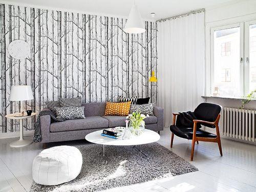 desain interior ruang tamu minimalis bernuansa monokrom