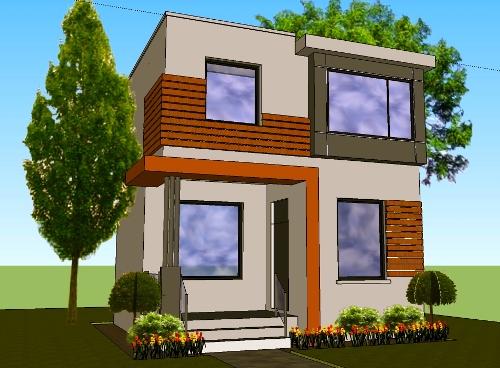 desain rumah minimalis 2 lantai type 45 dengan pemanfaatan lahan maksimal